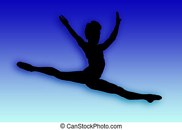 Male Dancer Jumping - Silhouette of a male dancer jumping...