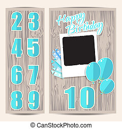 Greeting card for boy in wooden background Vector EPS10