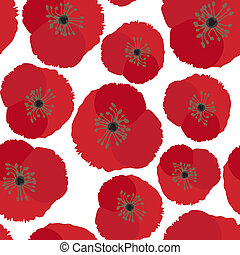 Seamless background with poppy flowers isolated on white background. Vector EPS10.