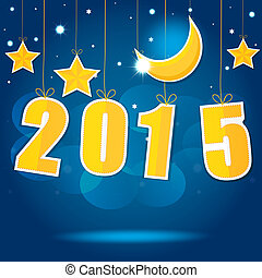 2015 New Year Vector EPS10 - Moon and stars in the night sky...