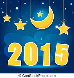 2015 New Year. Vector EPS10. - Moon and stars in the night...