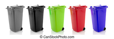 garbage bin - separated waste bin containers isolated on...