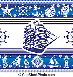 Banners with Nautical symbols and ship