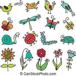 ensemble, rigolote, dessin animé, insectes,...