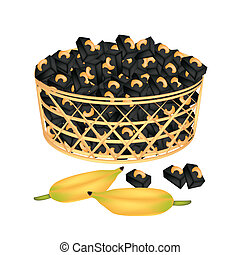 A Brown Basket of Sweet Banana Candies with Cashew -...
