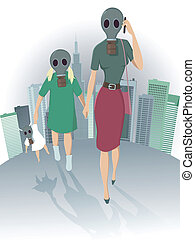 Air pollution in the city - Mother and daughter walking in...