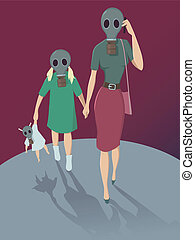 Air pollution - Mother and daughter walking in gas mask,...