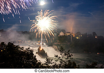 Rhinefall with the firework - Rhinefall, the biggest...