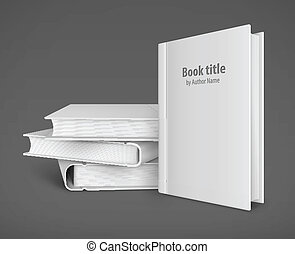 Book template with white cover and pile of books