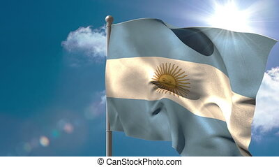 Argentina national flag waving on flagpole on blue sky...