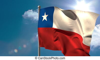 Chile national flag waving on flagpole on blue sky...