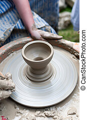 Pottery - formation process of the clay dish with...