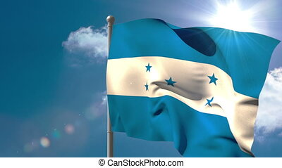 Honduras national flag waving on flagpole on blue sky...