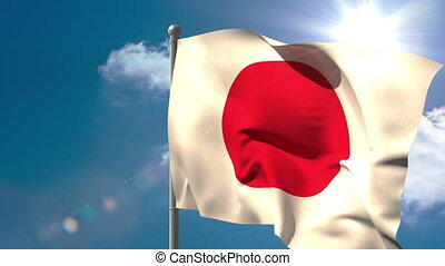 Japan national flag waving on flagpole on blue sky...