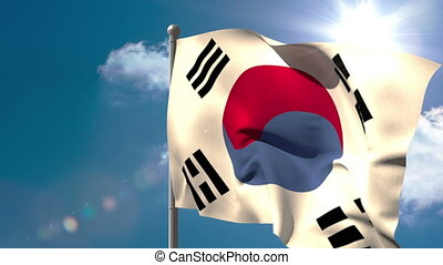 Korea republic national flag waving on flagpole on blue sky...