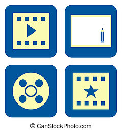 Movie icon set - Movie video production icon set isolated on...