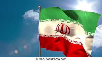 Iran national flag waving on flagpole on blue sky background