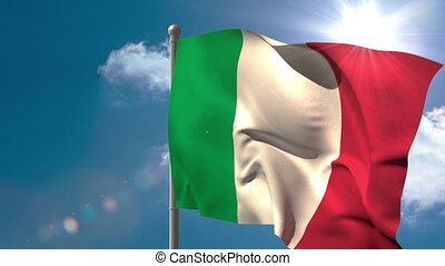 Italy national flag waving on flagpole on blue sky...