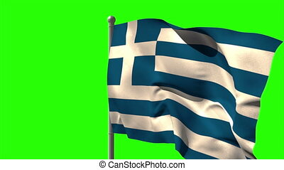 Greece national flag waving on flagpole on green screen...