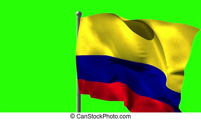 Colombia national flag waving on flagpole on green screen...