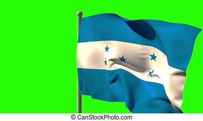 Honduras national flag waving on flagpole on green screen...