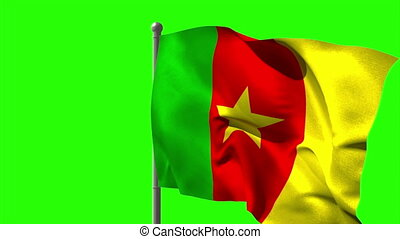 Cameroon national flag waving on flagpole on green screen...