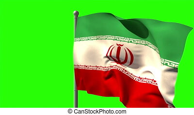 Iran national flag waving on flagpole on green screen...