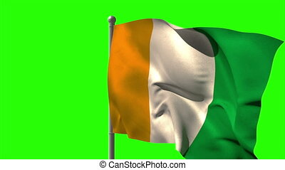Ivory coast national flag waving on flagpole on green screen...