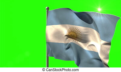 Argentina national flag waving on flagpole on green screen...