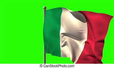 Italy national flag waving on flagpole on green screen...
