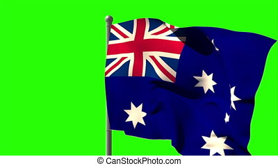 Australia national flag waving on flagpole on green screen...
