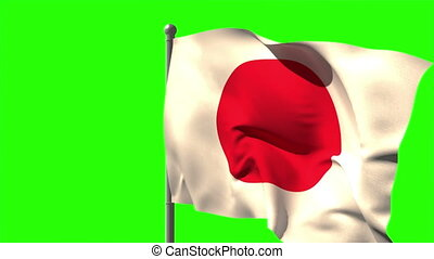 Japan national flag waving on flagpole on green screen...