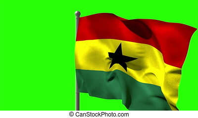 Ghana national flag waving on flagpole on green screen...