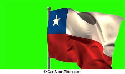 Chile national flag waving on flagpole on green screen...