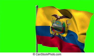 Ecuador national flag waving on flagpole on green screen...