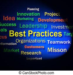 mejor, prácticas, palabras, exposiciones, Optimum,...