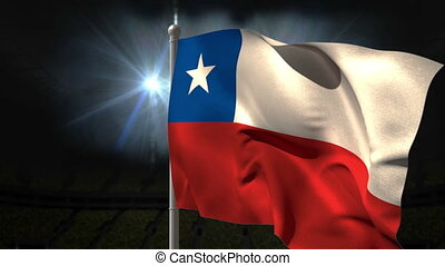 Chile national flag waving on flagpole on black background...