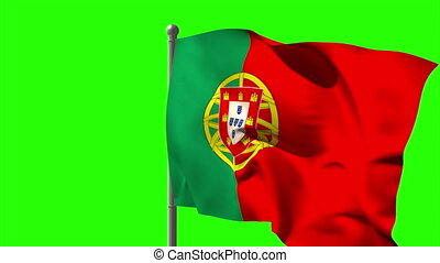 Portugal national flag waving on flagpole on green screen...