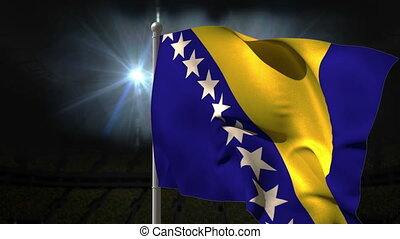 Bosnia national flag waving on flagpole on black background...