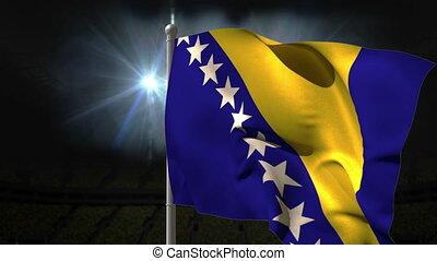 Bosnia national flag waving on flagpole on black background...