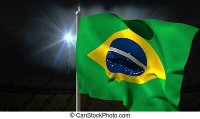 Brazil national flag waving on flagpole on black background...