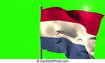 Netherlands national flag waving on flagpole on green screen...