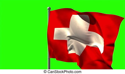 Swiss national flag waving on flagpole on green screen...