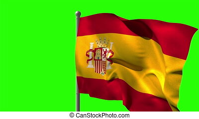 Spain national flag waving on flagpole on green screen...