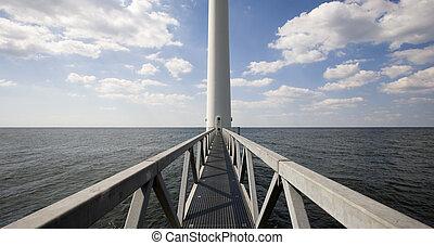 Wind turbine in the IJsselmeer near Lelystad in the...
