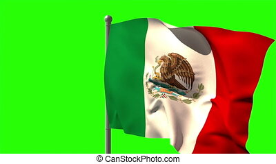 Mexico national flag waving on flagpole on green screen...