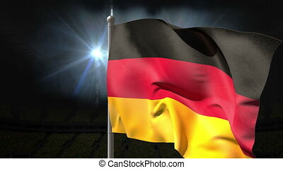 Germany national flag waving on flagpole on black background...