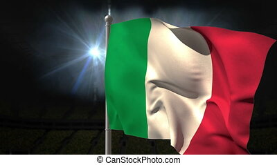 Italy national flag waving on flagpole on black background...