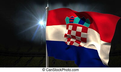 Croatia national flag waving on flagpole on black background...