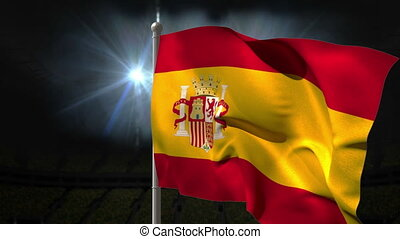 Spain national flag waving on flagpole on black background...